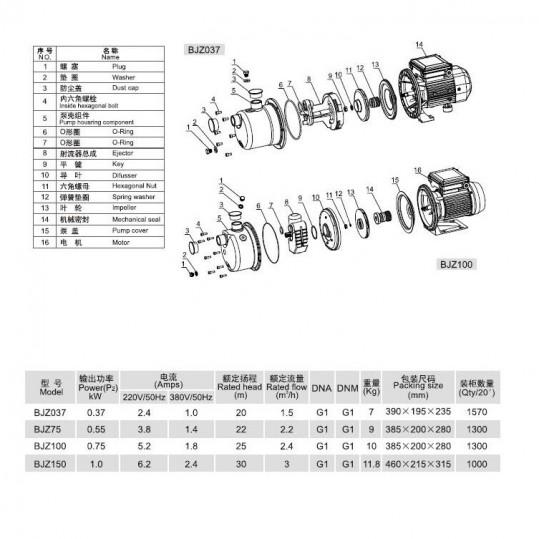 Насос напорный Aquaviva LX BJZ150 (220В, 4.2м3/ч, 1кВт) для водоснабжения