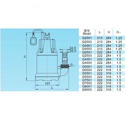 Насос дренажный Aquaviva LX Q9003 (220В, 11 м3/ч, 0.55кВт) для чистой воды, с поплавком
