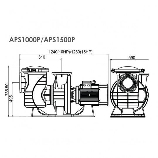 Насос Emaux APS1500P (380В, 250м3/ч, 15HP)
