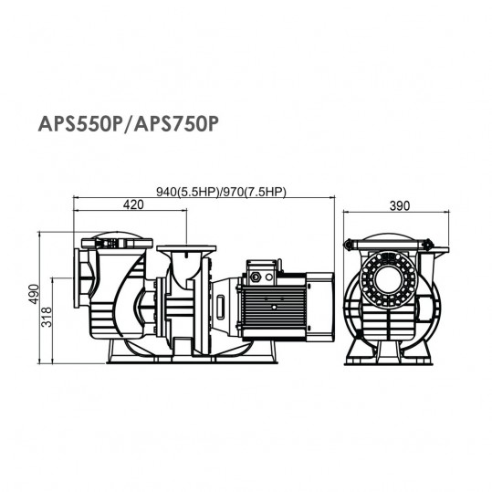 Насос Emaux APS550P (380В, 75м3/ч, 5.5HP)