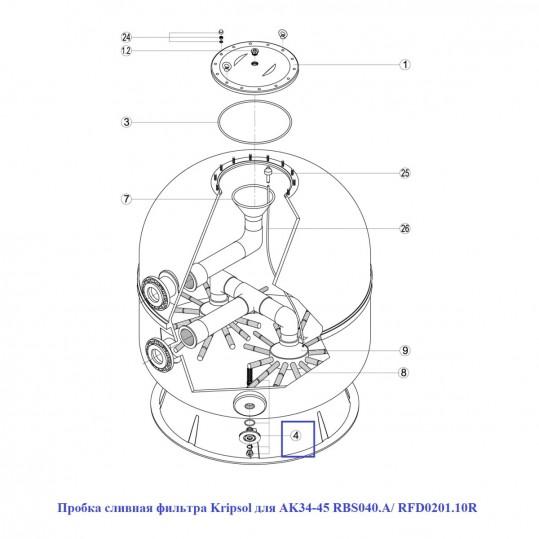 Пробка сливная фильтра Kripsol для AK34-45 RBS040.A/ RFD0201.10R