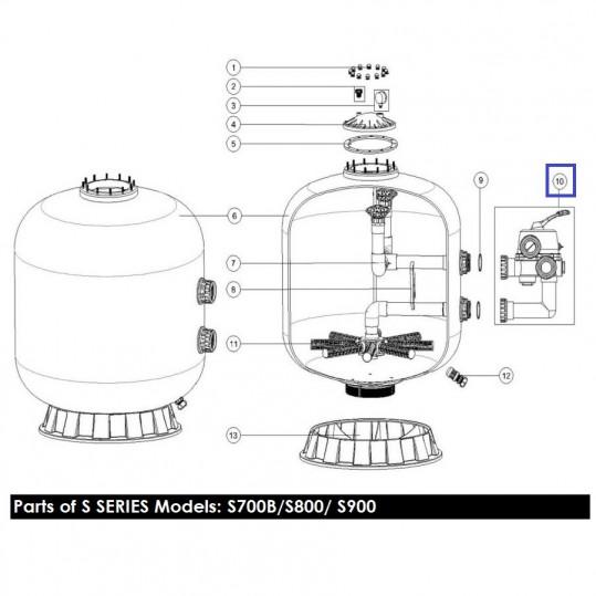 Кран шестиходовой Emaux MPV04 (2'') S700-S1200 (без фитингов) боковой (88280813W)