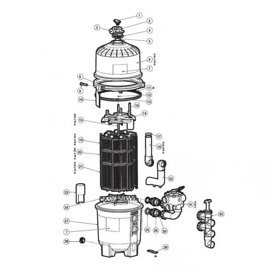 """Кран Hayward Vari-Flo SP0710XR50E 6-ти позиционный для фильтров серии Pro-Grid (1 1/2"""")"""