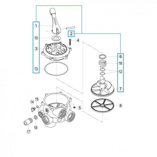 """Исп.механизм 6-ти поз.вентиля 1 1/2"""" Kripsol RVS019.A/ R1210019.0"""
