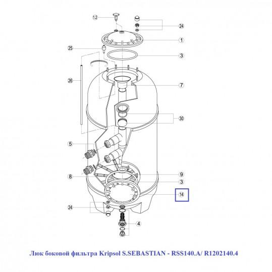 Люк боковой фильтра Kripsol S.SEBASTIAN - RSS140.A/ R1202140.4