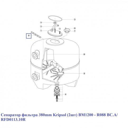 Сепаратор фильтра 380 мм Kripsol (2шт) BM1200 - R088 BC.A/ RFD0113.10R
