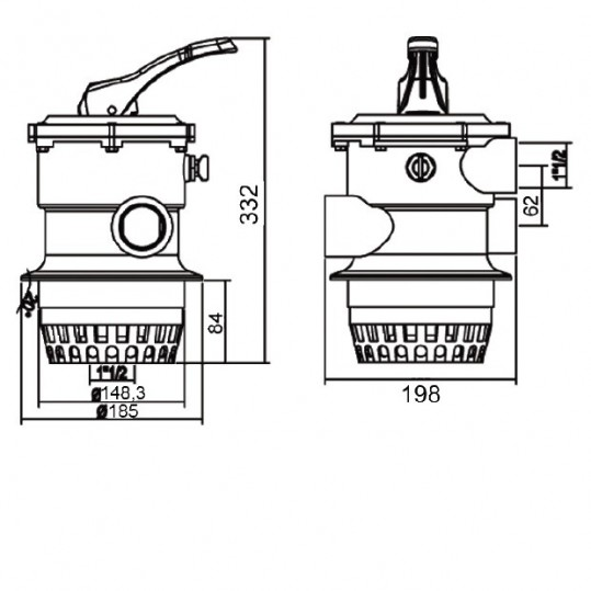 "Кран шестиходовой Emaux MPV01 (1,5"") верхний"