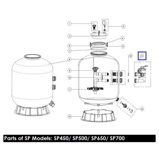 "Кран шестиходовой Emaux MPV03 (1,5"") боковой (88280811W) белый"