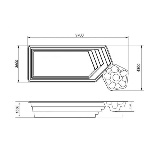 """Бассейн Аквапарк """"Премиум"""" (Переливной комплект) 9,70 x 4,30 x 1,55"""
