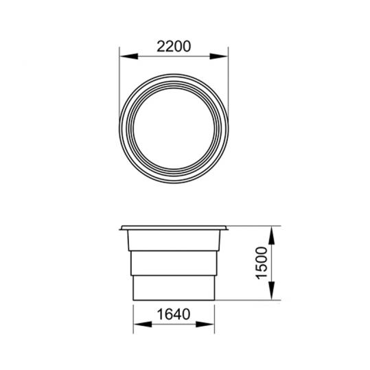 Купель Глория 2, переливная 2,20 x 1,50