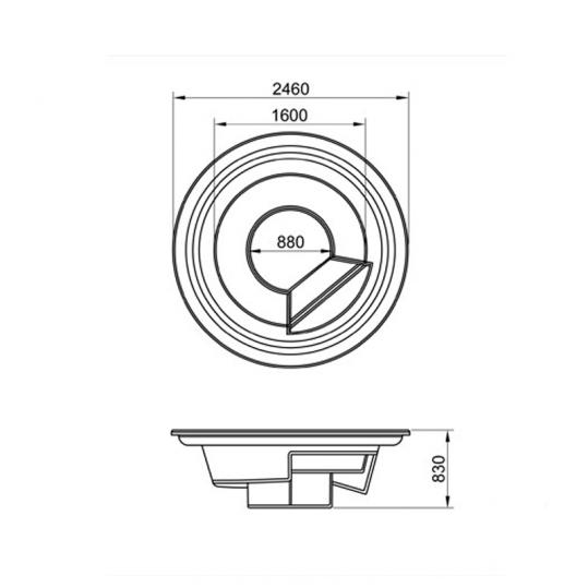 СПА-бассейн Мираж 1, переливной 2,50 x 0,83