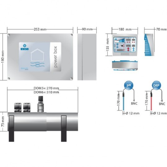 Соляной электролиз Idegis SPA, 6 гр хлора/час + pH / ORP