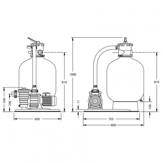 Фильтрационный комплект Pentair Azur Kit 375 с насосом SW-10M, 0,25 кВт - 6,0 м³/ч
