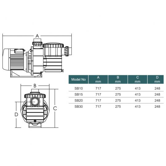 Насос Emaux SB20 (220В, 25 м³/час, 2HP)