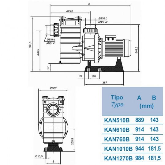 Насос Hayward HCP40553E1 KAN510 T1.B (380В, 76 м³/час, 5.5HP)
