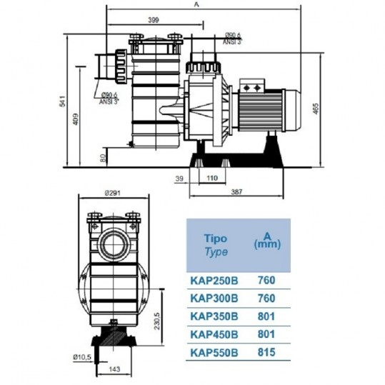 Насос Hayward HCP38303E1 KAP300 T1.B (380В, 48 м³/час, 3HP)