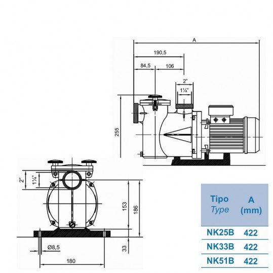 Насос Kripsol Ninfa NK 25 (220V, пф, 6m3/h*6m, 0,27kW, 0,25 HP)