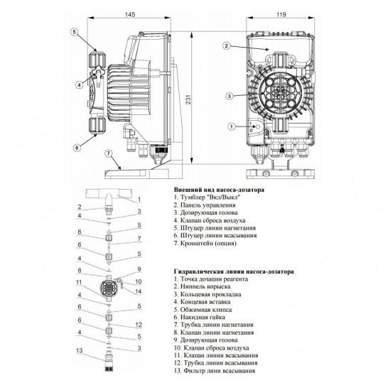 Дозирующий насос Seko Tekna EVO TPG 800 (10 л/час, цифровой)