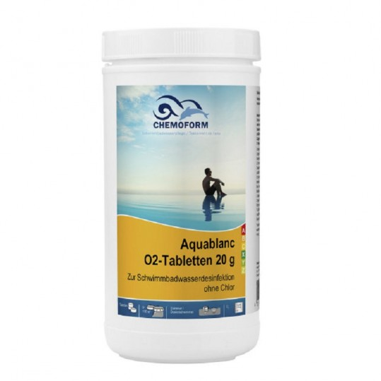 Фото - Бесхлорная дезинфекция Chemoform Aquablanc O2 Sauerstofftabletten 1 кг. (табл. 20 г)