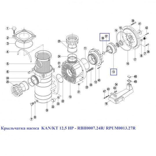 Крыльчатка насоса KAN/KT 12,5 HP - RBH0007.24R/ RPUM0013.27R
