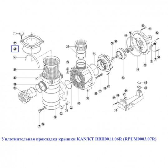 Уплотнительная прокладка крышки KAN/KT RBH0011.06R (RPUM0003.07R)