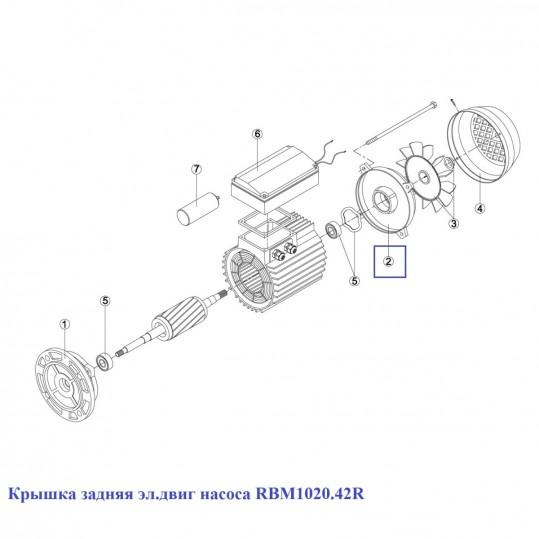 Крышка задняя эл.двиг насоса KA/KAP 250-450 (MEC-90) 7304.A/ RBM1020.42R/ RMOT0002.04R